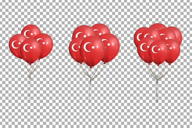 Set of realistic  balloons with turkish flag for 29th october, ekim cumhuriyet bayrami, republic day in turkey for decoration on the transparent background.