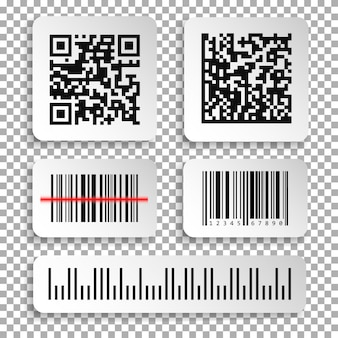 Set of realistic barcode and qr code black icon.
