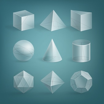 Set of realistic basic transparent shapes with outline
