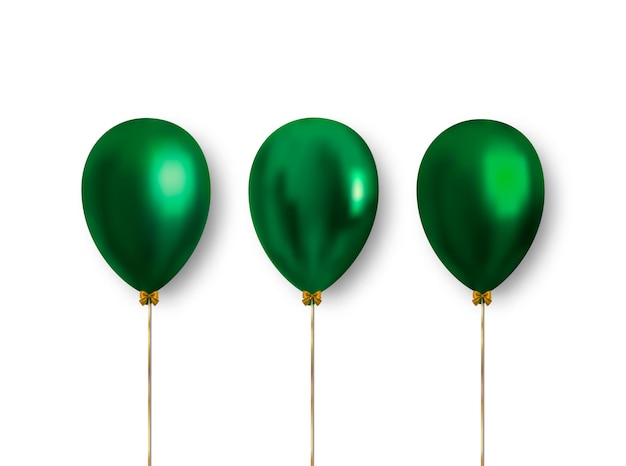Set of realistic beautiful green balloons with falling shadow.