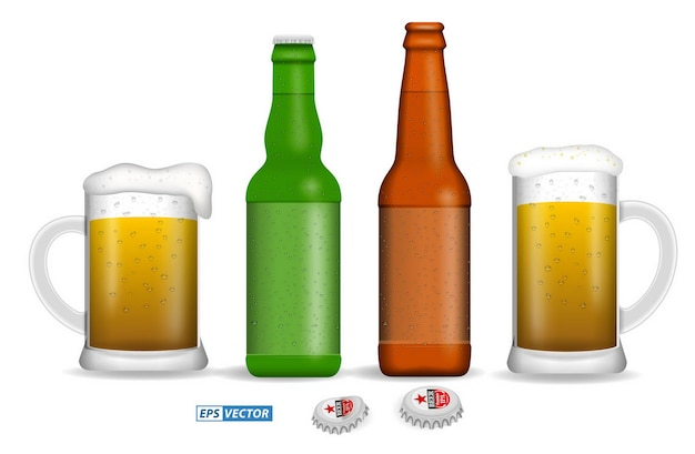 Set of realistic beer glasses isolated or vertical close up beer full glass with bubble eps vector