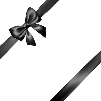 Set of realistic black bow with black ribbon. element for decoration gifts, greetings, holidays, valentines day .
