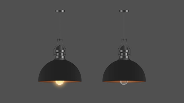 Set of realistic black ceiling lamps. loft style. element for interior design.