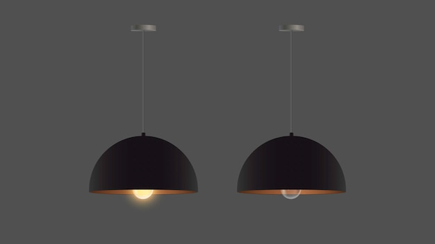 Set of realistic black chandeliers. ceiling lamp. loft style. element for interior design.