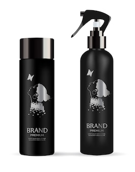 Set of realistic black package cosmetic product