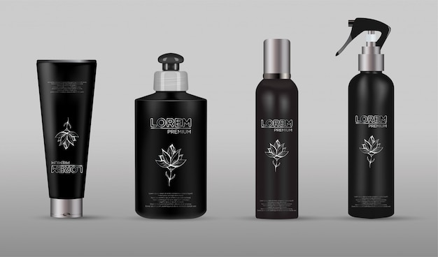 Set of realistic black package for luxury cosmetic product