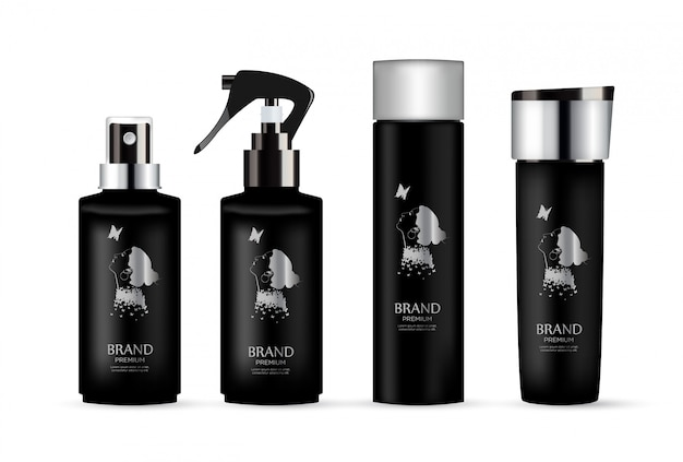 Set of realistic black package luxury cosmetic product.