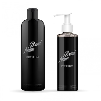 Set of realistic black package luxury cosmetic product
