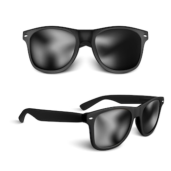 Set of realistic black sun glasses isolated