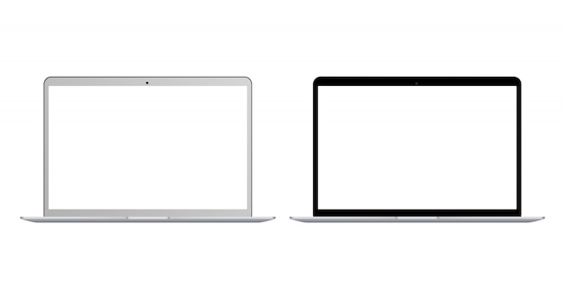 Set of realistic black and white laptop with blank screen isolated . realistic laptop notebook with empty screen. blank copy space