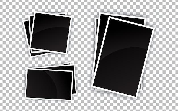 Set of realistic blank photo frame