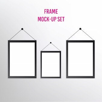 Set of realistic blank picture frames with shadows isolated on white background.