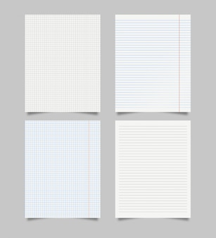 Set of realistic blank squared and lined paper sheets . realistic paper sheet of lines and squares notepad pages set  on grey background.  illustration