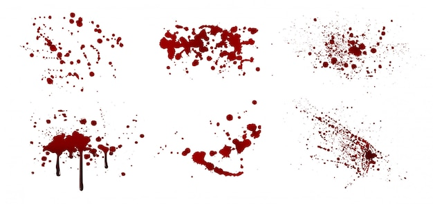 Set of realistic blood splatters. drop and blobs. bloodstains isolated.