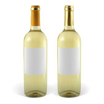 Установите реалистичные бутылки белого вина