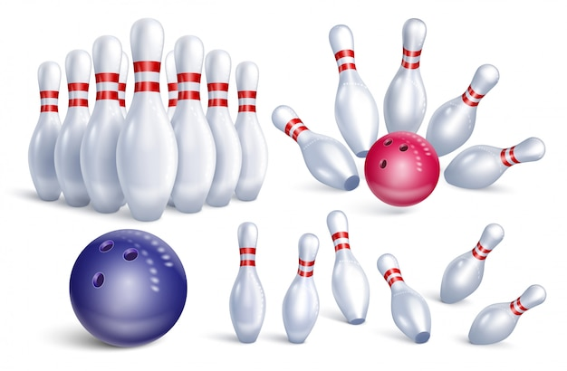 Set of realistic bowling icons.