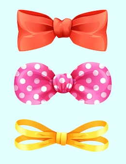 Set realistic bows decoration isolated vector