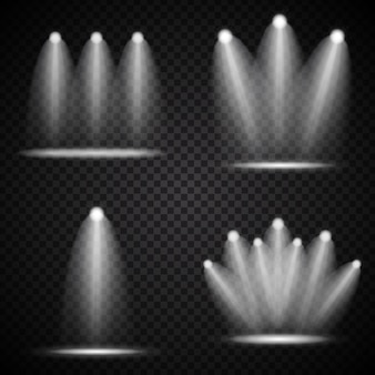 Set of realistic bright projectors lighting lamp collection with spotlights lighting effects with transparency isolated on transparent background. vector illustration