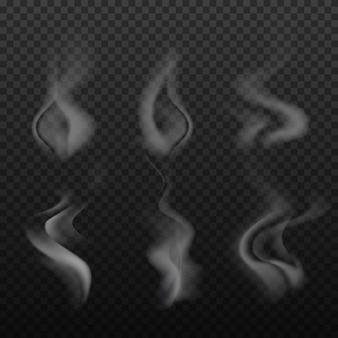 Set of realistic bright, smoke, wave, steam, vape on transparent backdrop