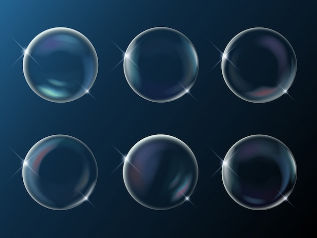 Set of realistic bright sparkling soap bubbles with rainbow reflection on dark