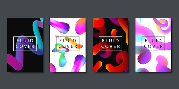 Set of realistic  brochures with geometric gradient fluid liquid shapes for decoration and covering on the dark background.