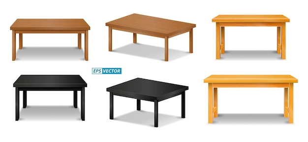 Set of realistic brown wooden table top or pine wood tabletop isolated or montage table display