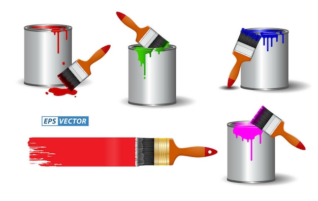 Set of realistic brush paint or paint can with brush effect realistic in various color painting