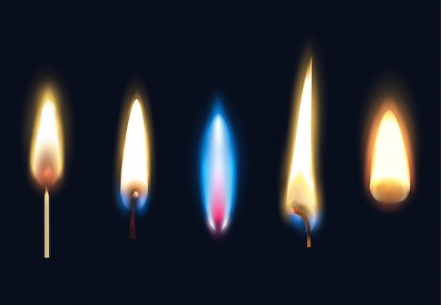 Set of realistic burning flames of matches candles and lighter isolated illustration