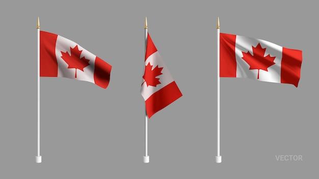 Установите реалистичный флаг канады. развевающийся флаг текстиль. шаблон для продукции, рекламы, баннеров, листовок, сертификатов и открыток. иллюстрация
