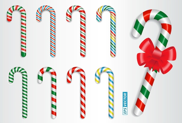 Set of realistic candy cane christmas isolated or crossed sweet  candy tied with a bow or sweet