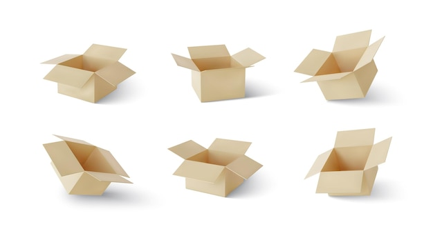 Set of realistic cardboard brown delivery boxes