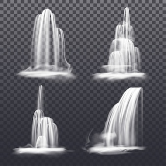 Set of realistic cascade waterfall or fountain water. mountain streams or falling river, victoria fall on transparent background. isolated nature decoration landscape. liquid flow. scenery