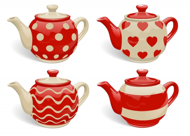 Set of realistic ceramic teapots.