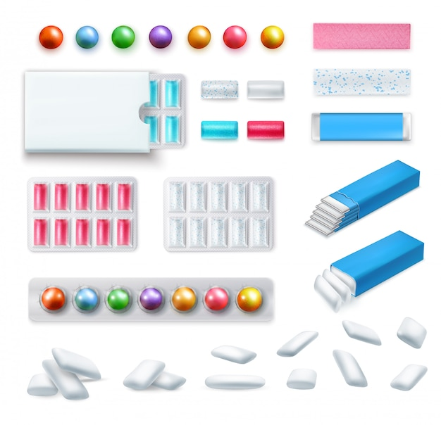 Set of realistic chewing gum of various shape and color in packaging and without isolated