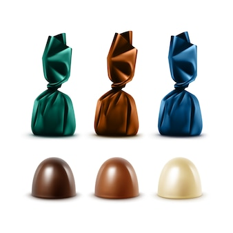Set of realistic chocolate candies