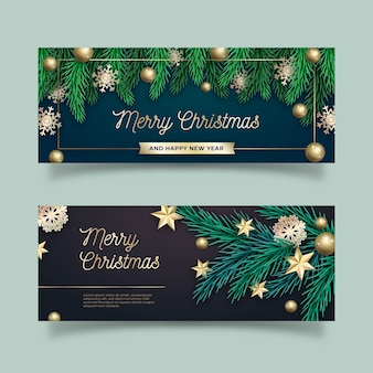 Set of realistic christmas banners