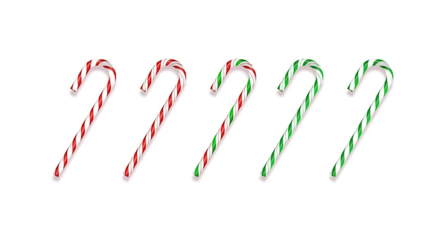 Set of realistic christmas candy cane vector illustration isolated