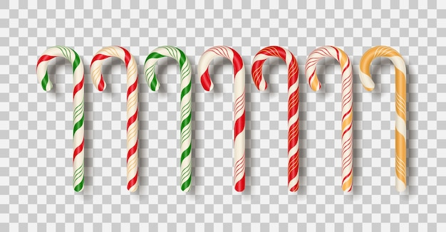 Set of realistic christmas candy cane