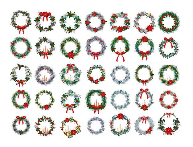 Set of realistic christmas wreaths for decoration.
