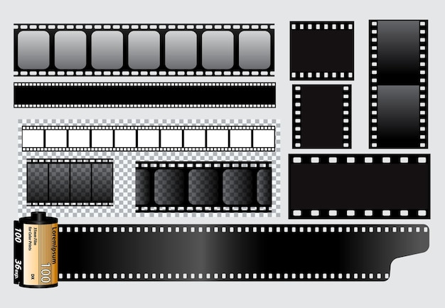 Set of realistic cinema clapper board isolated or film strip cinema 35mm type