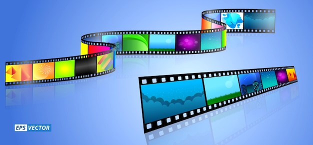Set of realistic cinema clapper board isolated