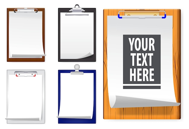 Set of realistic clipboards with white paper
