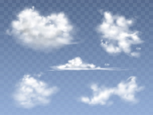 Set of realistic clouds, illustration of different types of cirrus and cumulus clouds