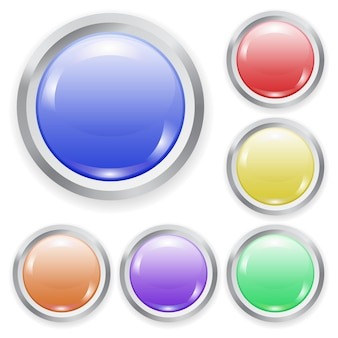 Set of realistic color plastic button with patch of light and metal frame