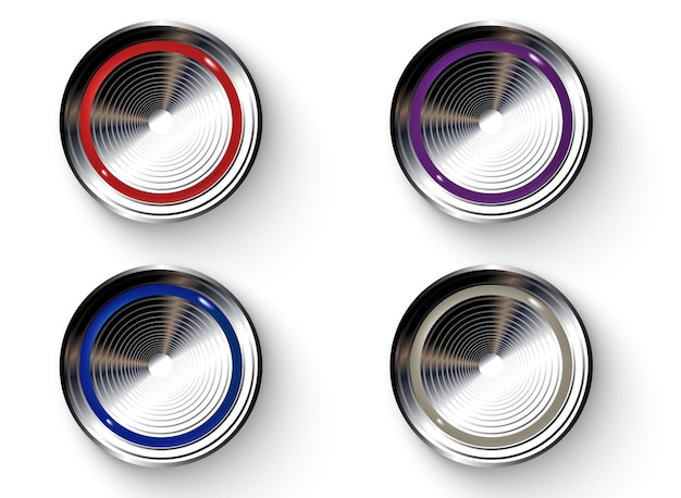 Set of realistic colored buttons