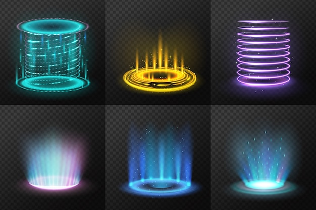 Set of realistic colorful magic portals with light streams  isolated  illustration