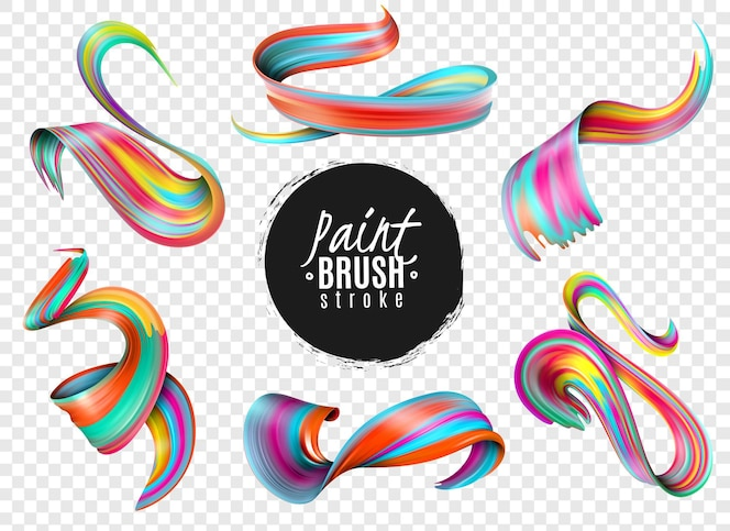 Set of realistic colorful paint brush strokes isolated on transparent