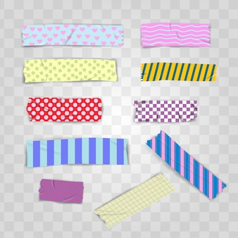 Set realistic colorful pattern scotch washi tape