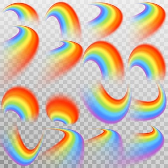 Set of realistic colorful rainbow. transparent background only in
