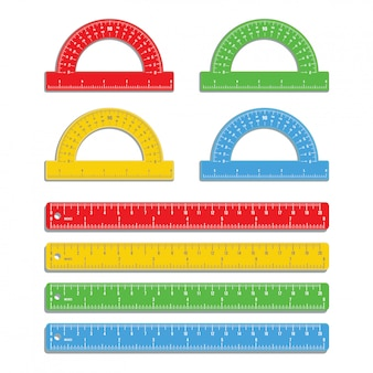 Set of realistic colorful rulers marked in inch and centimeters with colored protractors isolated on white